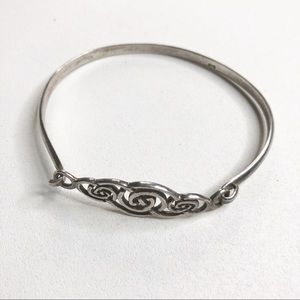 Vintage Sterling Silver Bracelet Open Hinge Swirl